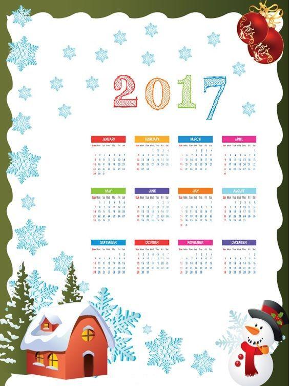 2017 calender for kids | Crafts and Worksheets for Preschool,Toddler and Kindergarten