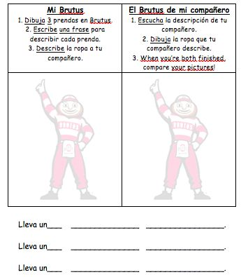 Draw and describe what yours is wearing, then listen to your neighbor's description and draw theirs! adapt this two sided drawing/describing/listening idea for any vocab, such as a meal, family members, house, etc. I hablo espanglish: Spanish
