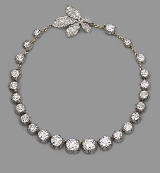 antique diamond riviere necklace with especially lovely clasp