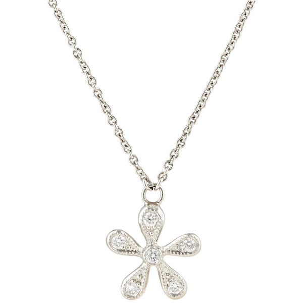 Cathy Waterman Women's White Diamond & Platinum Daisy Pendant Necklace (3 255 AUD) ❤ liked on Polyvore featuring jewelry, necklaces, no color, white diamond necklace, pendant necklace, platinum pendant, chain pendants and chains jewelry