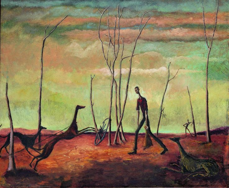 Russell Drysdale / Australia NSW 1912–1981 / Man feeding his dogs 1941 / Oil on canvas / 51.2 x 61.4cm / Gift of CF Viner-Hall 1961 / Collection: Queensland Art Gallery / © Queensland Art Gallery