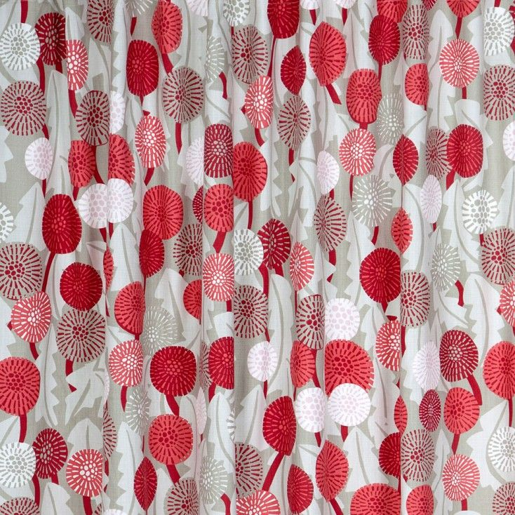 Scandinavian Fabric - Spira Maskros Red from Hus & Hem.   Spira of Sweden's Maskros fabric features a botanical print in harmonious shades of raspberry red, coral, powder pink and putty grey.  Mix and match Maskros with the complimentary Bubbla and Dotte prints, to name just a few of Spira's many patterns that create a colour happy Scandinavian home.  Ideal for curtains, blinds & soft furnishing projects.