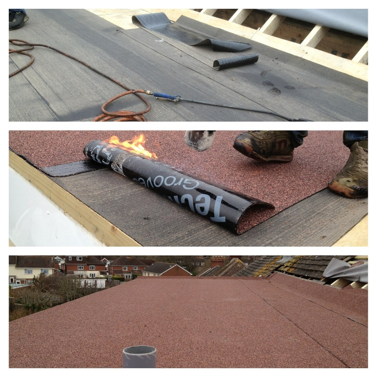 Flat Roof Being Laid With Tekno Torch Felt Flat Roof