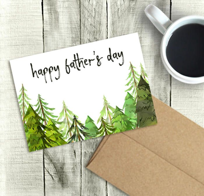 Printable Father's Day Card, Happy Father's Day, Watercolor Trees, PDF Instant Download, 5x7 Greeting, Dad, Brother, Husband, Son, Grandpa by DownThePathCreations on Etsy