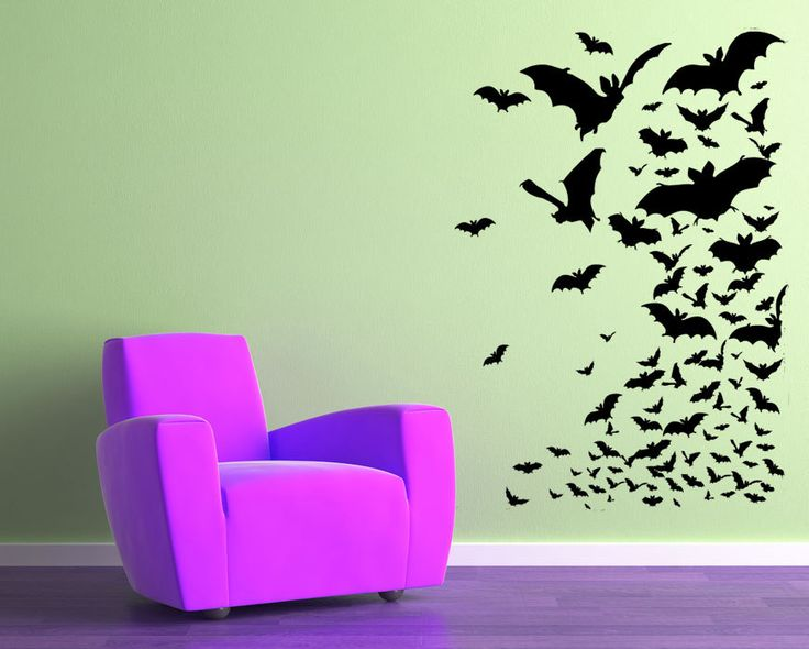 Flock of bats halloween gothic holiday bat fly man for Room decor 5d stickers