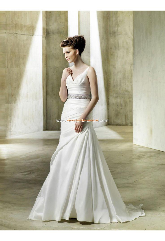 Robe de mariée sirène col V cristal noeud