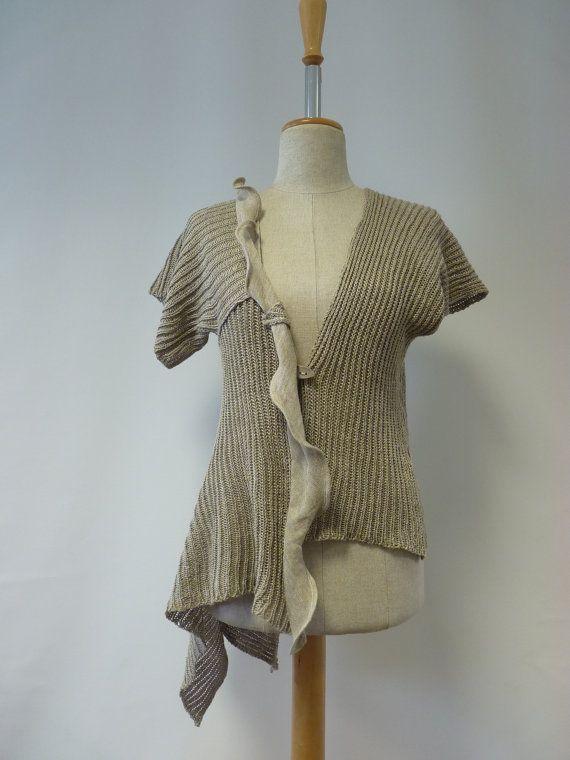 Feminine natural linen asymmetric cardigan M size. от ZUZABARTSHOP