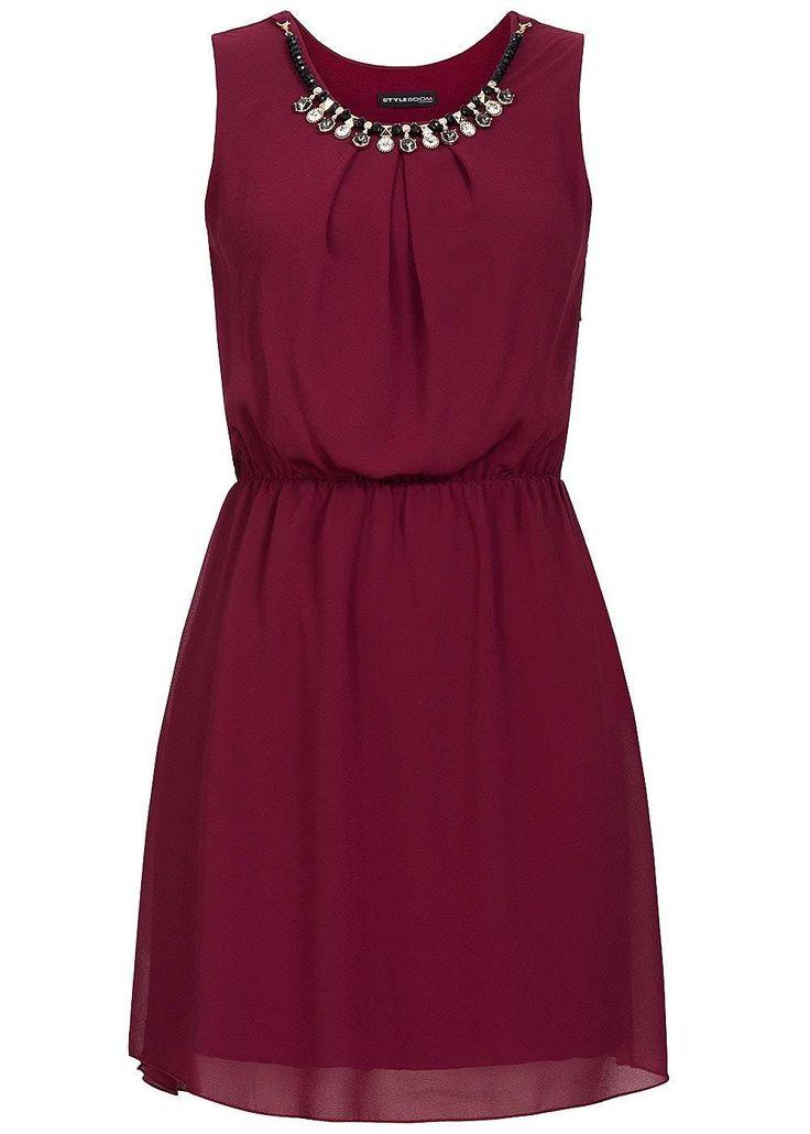 Styleboom Fashion Damen Mini Kleid Gummizug abnehmbare Kette 2-lagig bordeaux - 77onlineshop