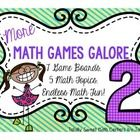More Math Games Galore is the most versatile center you'll ever use!  - Students choose one of 7 themed game boards  - You choose one of 5 math concept decks of cards, based upon the needs of the students - Students play a board game and practice important math concepts!  ** send these games home for extra practice!