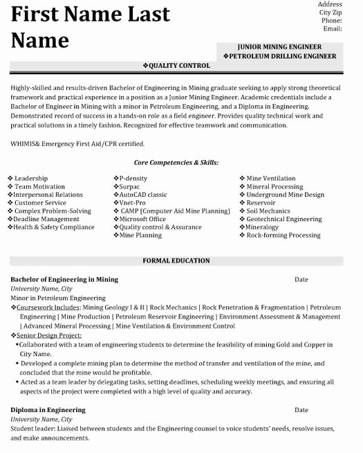 Resume Format Quality Control Engineer Resume Format Sample