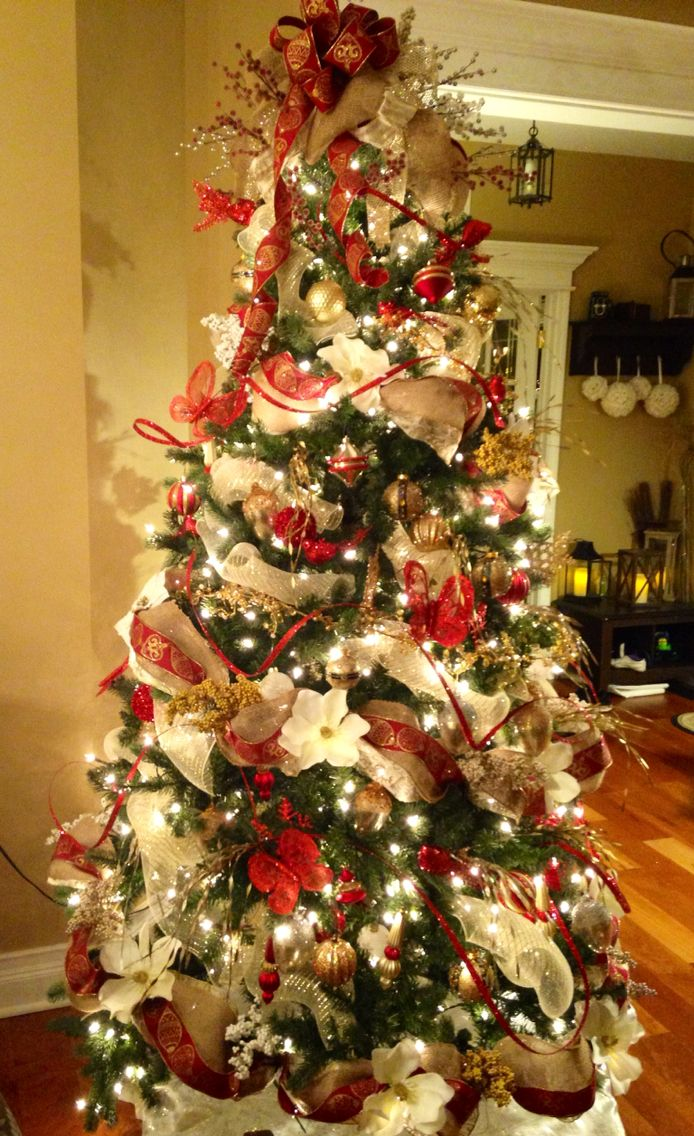 Cream, Red and Gold with Burlap Christmas Tree -2014