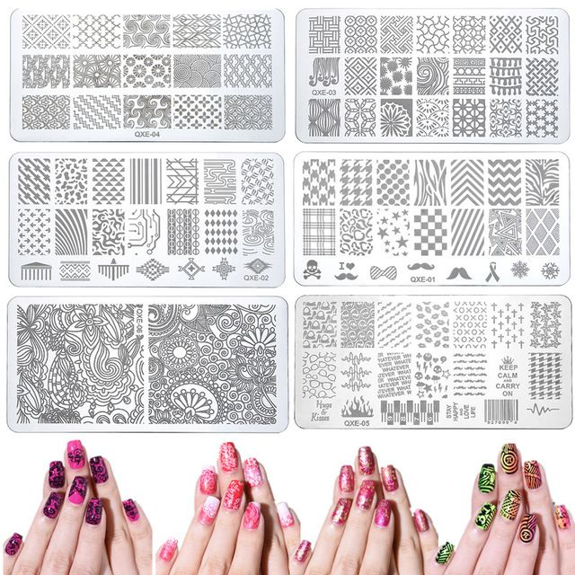 20 styles Nail Art Stamp Stamping Image Plate 6*12cm Stainless Steel Nail Template Manicure Stencil Tools