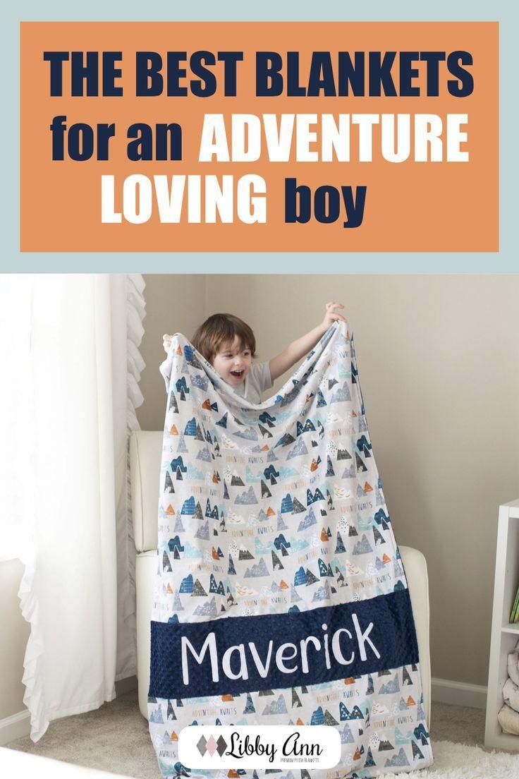 Adventure Awaits Gray Personalized Baby Blanket Boy Custom Minky