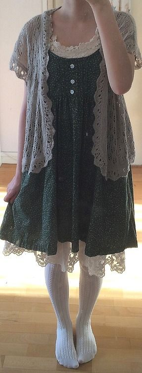 Cute dress with sweater & lace slip/petticoat