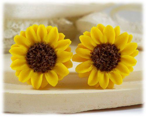 Sunflower Earrings Stud  Yellow Sunflower by strandedtreasures, $20.00