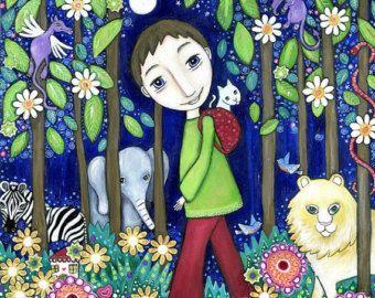 Arte de la pared de los chicos impresión pintura marrón cabello ojos azules elefante de selva muchacho León cebra gato regalo de dragones para el arte de pared de selva hijo muchacho sobrino para niño