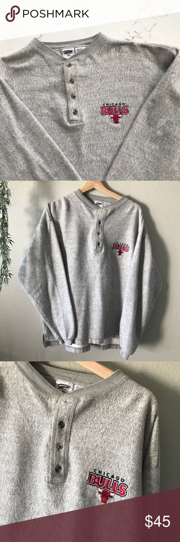 Vintage Chicago Bulls Sweatshirt Vintage NBA Chicago Bulls Pro Edge Sweatshirt with buttons. Vtg 90s from the Bulls Championship Era. Adult XL. Circa 1998. National Basketball Association. Vintage Shirts Sweatshirts & Hoodies