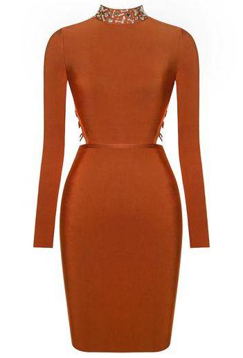 Long Sleeve Lace Up Embellished Bandage Dress Rust - Party Dresses and Celebrity Inspired Fashion