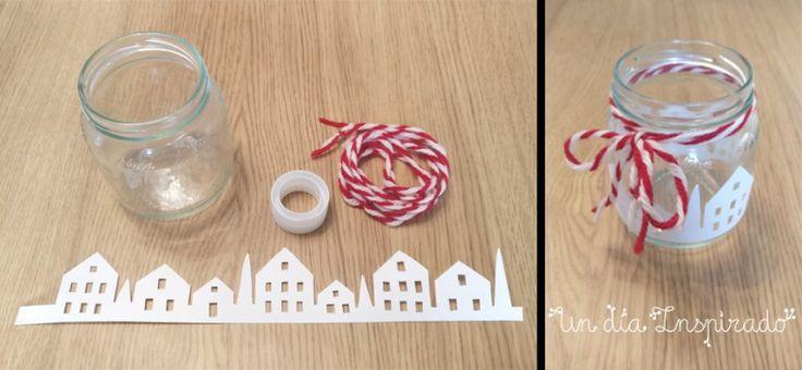 Portavelas navideños con tarros de cristal