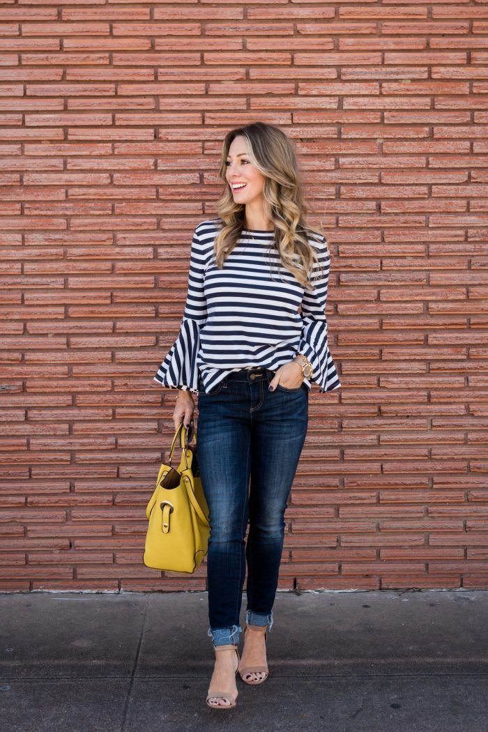 0248701a29d5e Stripe Bell Sleeve Top with skinny jeans and yellow bag.  stripes  color