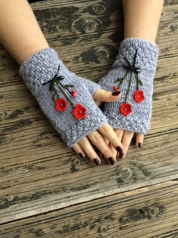 Gray Fingerless Gloves Red Flowers Embroidered Gloves by NickNacky