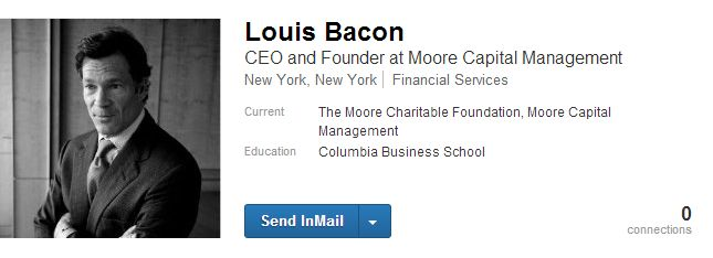 Louis Bacon is Founder and CEO of Moore Capital Management, LP. In 1992, Mr. Bacon created The Moore Charitable Foundation (MCF) to provide financial support to nonprofit organizations that work to preserve and protect wildlife habitat and improve water systems. Since then, the foundation has provided significant funding to local and national conservation and environmental protection agencies.