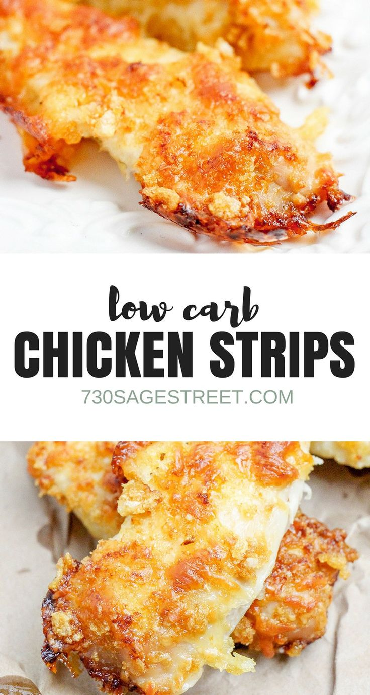 Enjoy a low carb version of breaded chicken strips.