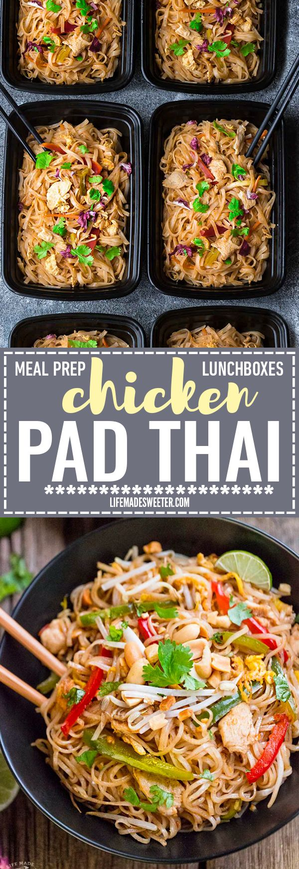 Easy and Authentic Chicken Pad Thai makes the perfect simple weeknight meal and great for Sunday meal prep and leftovers are great for school lunchboxes and work lunch bowls. Best of all, this recipe has gluten free & paleo-friendly options and can cook u