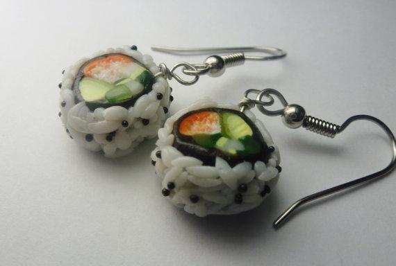 California Roll Sushi Earrings Miniature by Sweetnsavorytrinkets, $20.00