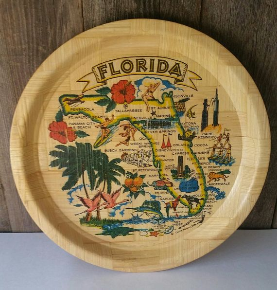 Great serving tray for retro cocktail party. Very Miami. Check out this item in my Etsy shop https://www.etsy.com/ca/listing/246082405/vintage-florida-map-bamboo-tray