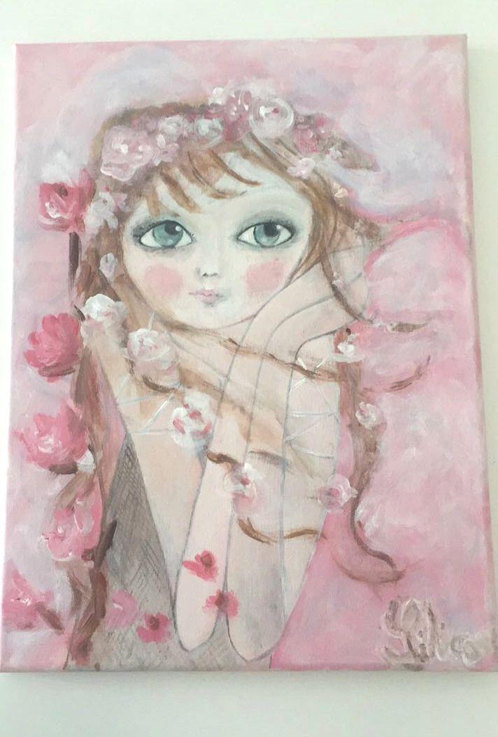 tableau romantique et shabby chic demoiselle rose et ses fleurs peintures par lilirose art. Black Bedroom Furniture Sets. Home Design Ideas