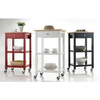 Wood Kitchen Cart on Wheels - 17882392 - Overstock Shopping - Great Deals on Kitchen Carts