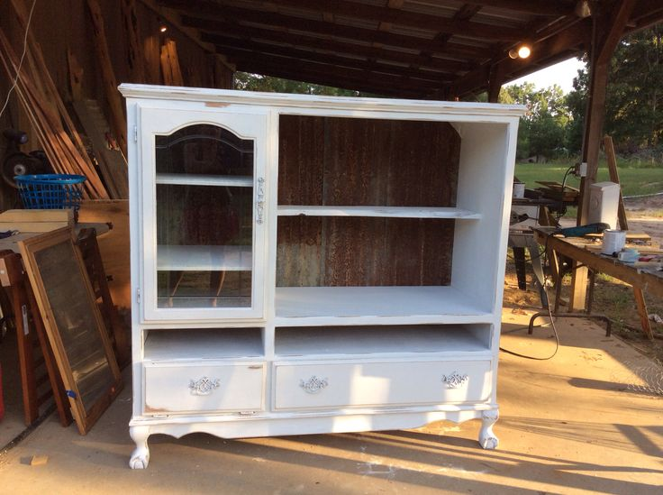 Oak entertainment center refurbished into hutch. Vintage ...