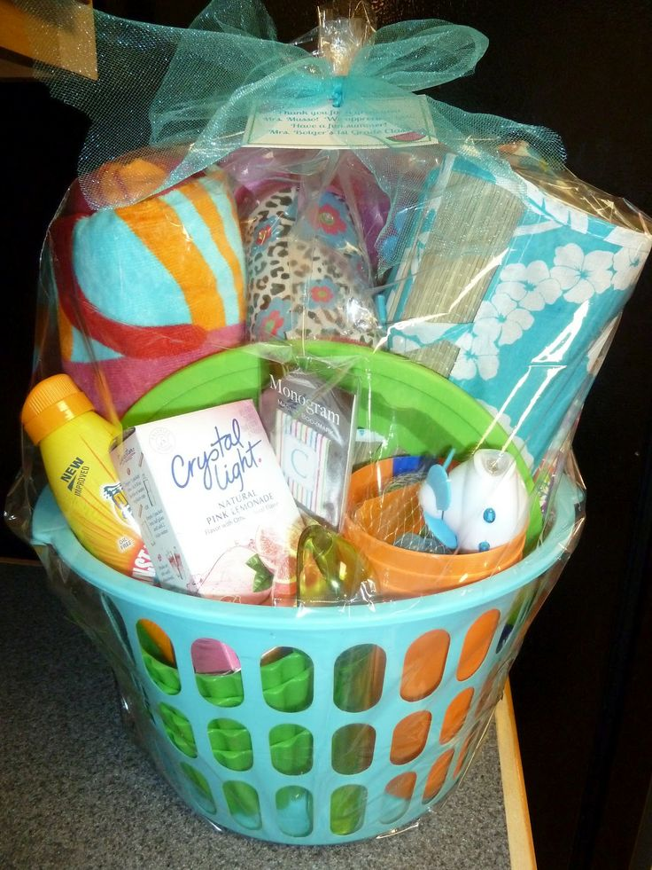 19 best wedding social prizes images on pinterest gift ideas i gave this summer basket as an end of the year teacher gift i found the basket at the dollar tree and filled it with items to use this su negle Image collections