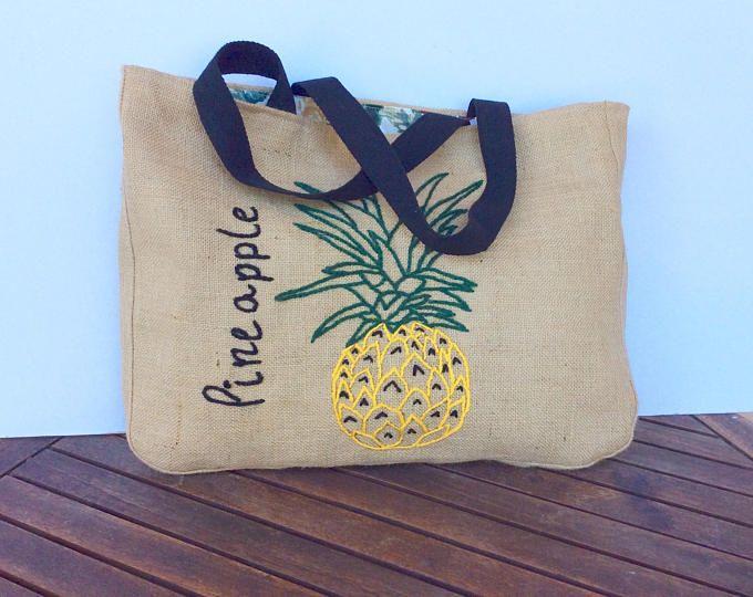 Piña bordada bohemio inspirado, hecho a mano mano, bolso de totalizador de la playa de verano, bolsa de yute, bolsa de compradores