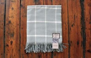 Foxford aqua and grey check blanket www.waringsathome.co.uk