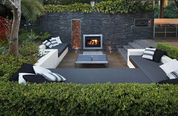 modernes gartendesign sitzecken im garten sichtschutz feuerstelle, Terrassen ideen