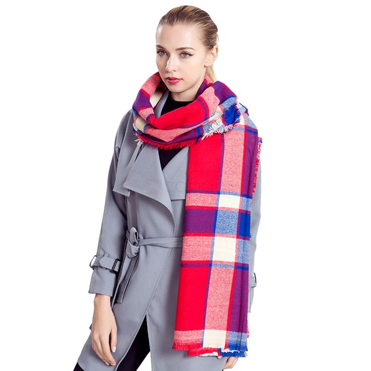 Contrast Color Checkered Pattern Pashmina Long Range Scarf. Perfect size to loosely wrap around your neck or drape over your shoulders. Compact and stylish design will be nice to collocate with your coat. Acrylic Fibers material is unharmful for your skin and great for durability. Whether you're going for a laid back look or something more formal, such as a dinner party, you can find that perfect look.