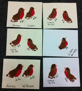 spring robin craft - cute footprint. Idea could be used for any birds.