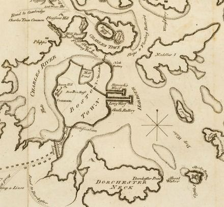 Map of Boston, by John Almon, drawn at Boston in June 1775, published in London Aug 28 1775