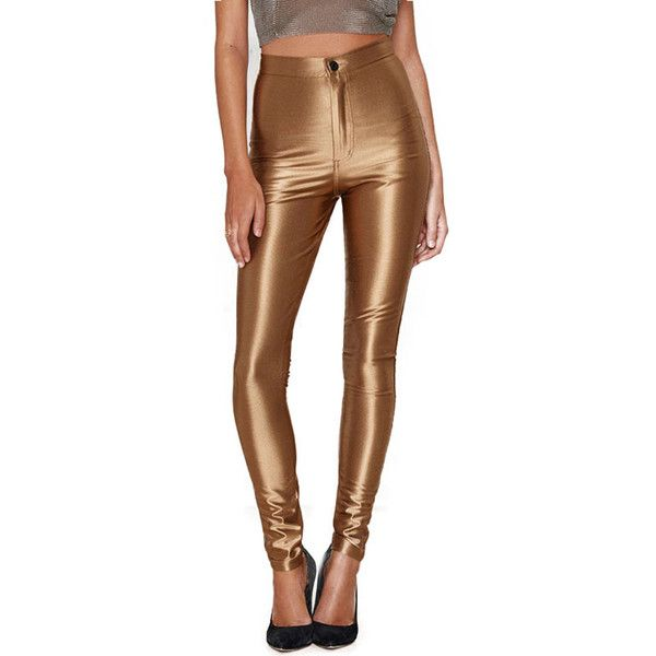 Chicnova Fashion High Rise Leggings in Metallic Gold ($28) ❤ liked on Polyvore featuring pants, leggings, brown high waisted pants, high waisted leggings, highwaist pants, high-waist trousers and high-waisted leggings