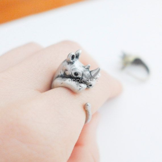 rhinoceros ring Rhino Ring animal ring by applelatte on Etsy, $17.80