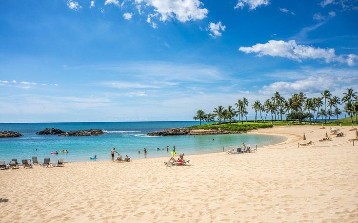 Laguna, Ko Olina, Hawaii, Oahu, Ocean, Chmury, Wybrzeże