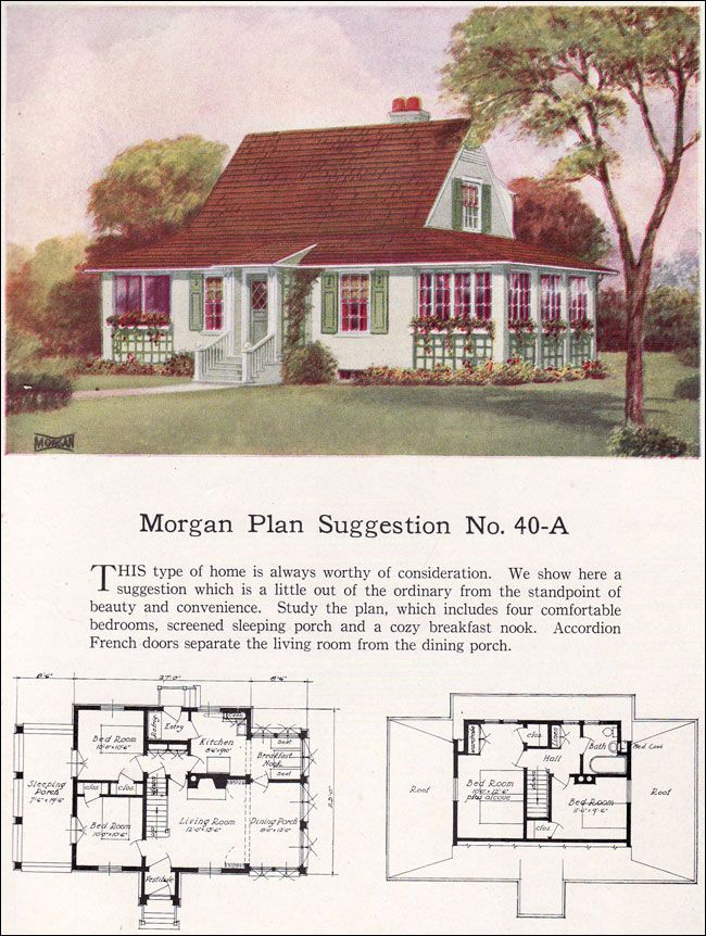1923 Morgan Sash & Door - 40A An open floor plan borrows from the bungalow, but the overall style appears more traditional. In any case, accordian-fold French doors separate the living room from the dining porch. A full complement of casement windows would make for an airy, bright living space much of the year. Two bedrooms and a sleeping porch on the main floor with two more bedrooms and a bath on the second floor make this a good-sized house.