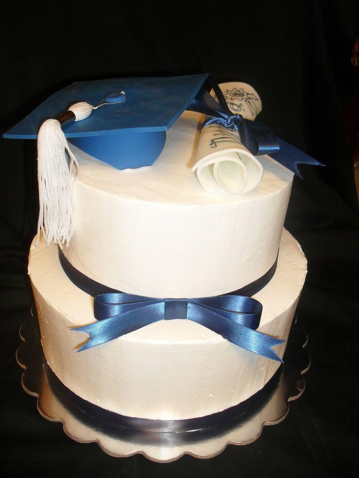 Congrat S White And Royal Blue Grad Cake Cakes