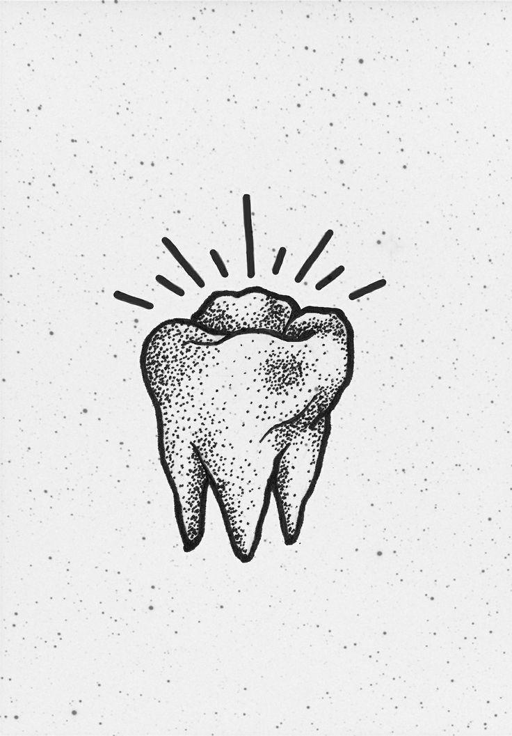 Tooth. Illustration. Black line art.