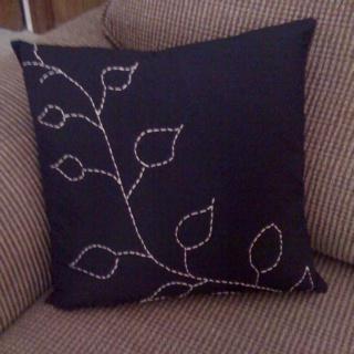 Handstitched leaf pillow