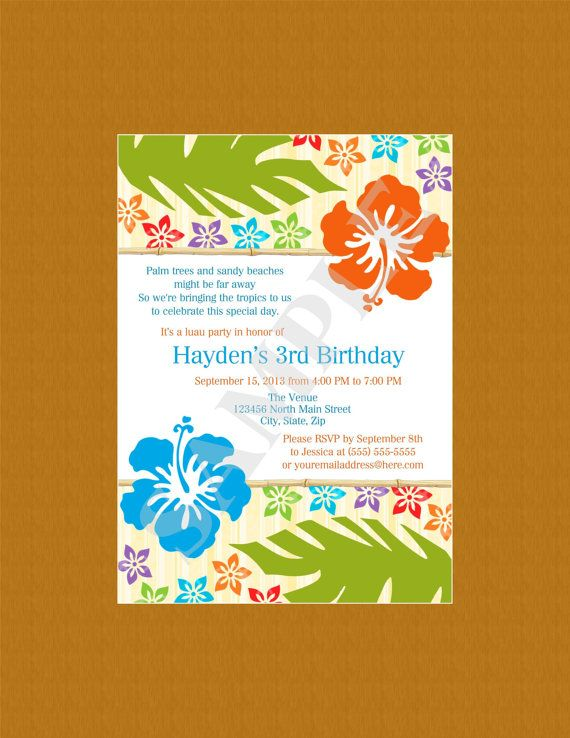 Hawaiian Luau Colorful Male Birthday Party Anniversary Shower Invitation Digital File on Etsy, $10.65 CAD