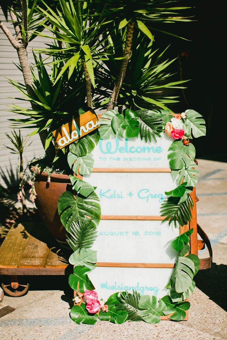 Modern Tiki Wedding DIY Welcome Sign - can be a chalk board or white board. I think David already has one.