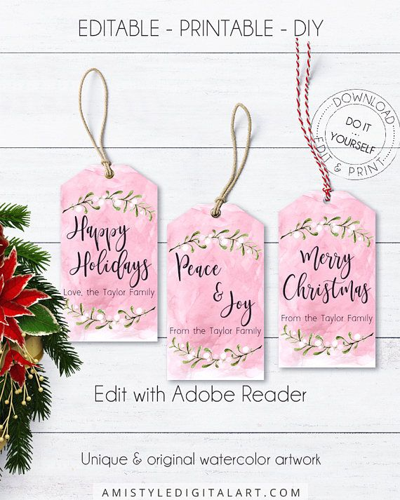 Watercolor Editable Gift Tag, with beautiful watercolor Christmas design and background, in an elegant and classic style.This Christmas gift tag template listing is for an instant download EDITABLE PDF so you can download it right away, DIY edit and print it at home or at your local copy shop by Amistyle Digital Art on Etsy